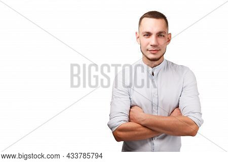 Happy Male Person Portrait Isolated Against White Background. Guy Folded Arms. Waist Up Studio Shot.