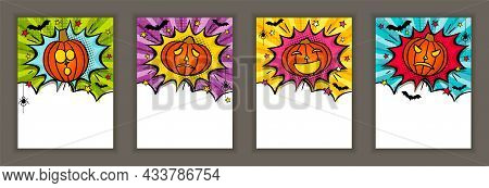 Bright Comic Banner For Halloween With Pumpkins, Stars, Bats. Cloud Text Frame On Ray Background. Po