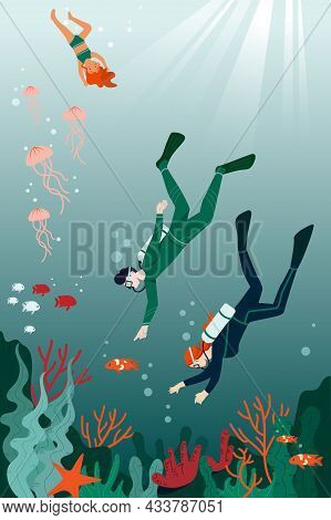 Male And Female Characters Are Diving And Snorkeling In The Ocean Together. Concept Of Underwater Li