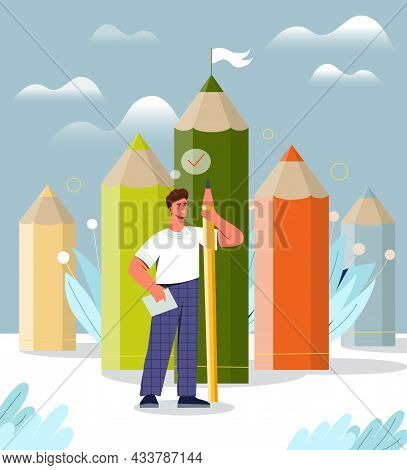 Male Character Is Standing With Big Colorful Pencils As A Creative Achievement Metaphor. Concept Of