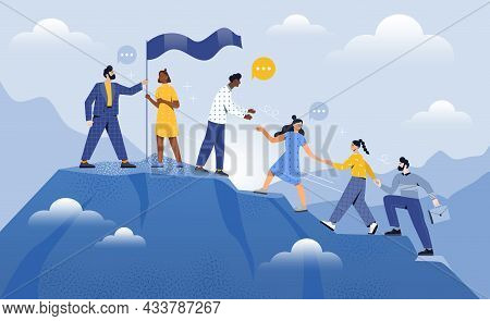 Male And Female Coworkers Are Helping Each Other To Climb Up The Mountain Together. Teamwork Partner