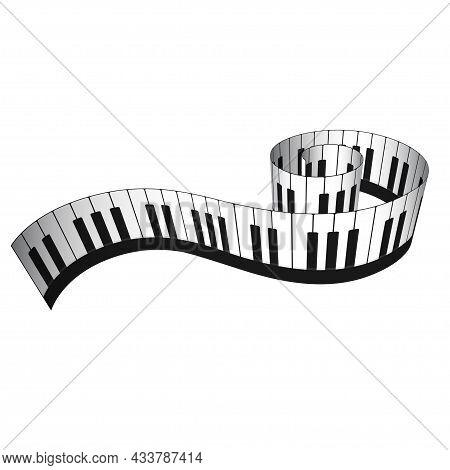 3d Piano Keyboard In Isometric Style. Realistic Piano Keys. Musical Instrument Keyboard. Vector Illu