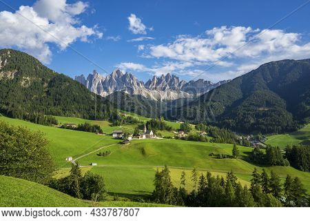 Beautiful Picturesque Landscape Of The Village Of Santa Maddalena. Dolomites. Italy.