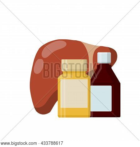 Liver And Packaging Of Medications. Treatment Of Internal Organ Of Person.