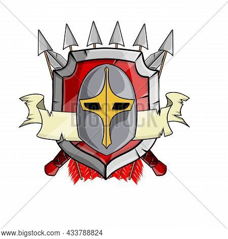 Heraldic Coat Of Arms Of Medieval Knight. Metal Weapons And Armor.