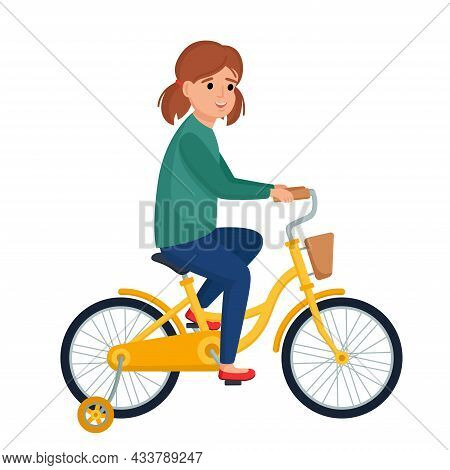 Cute Girl Riding Bike. Smiling Kid On Bicycle, Vector Illustration