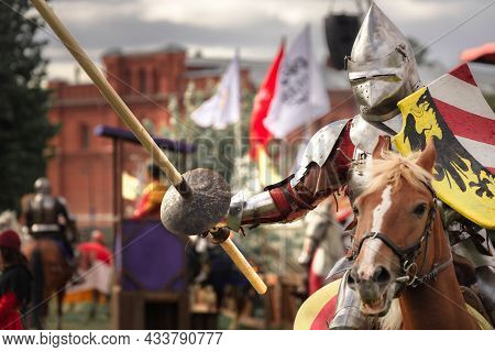 A Knight In Armor With A Spear Rides A Horse, The Battle Of The Neva Festival, St. Petersburg, Russi