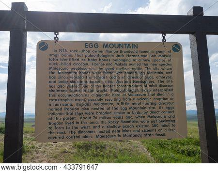 6/25/19 Egg Mountain, Montana A Placard Describing Jack Horner And Bob Makela's Dinosaur Egg And Bon