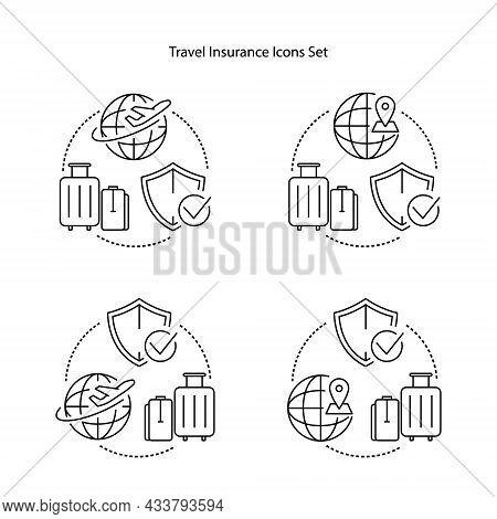 Travel Insurance Icons Set Isolated On White Background. Travel Insurance Icon Trendy And Modern Tra
