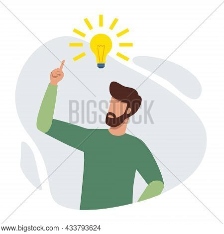 Man Having Fresh Idea. Person Pointing Up To The Bright Bulb Finding Problem Solution. Finding Great
