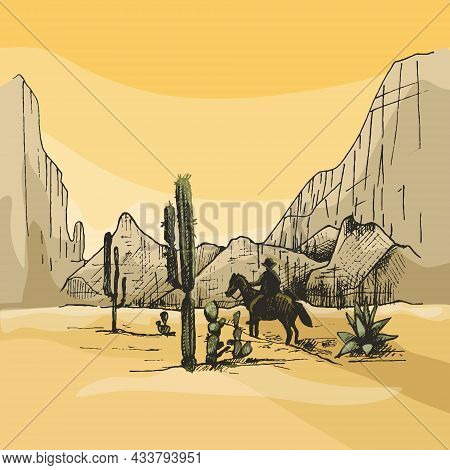Horseman Mexican Rides On Background Panorama Mountains And Desert. Vintage Vector Hatching Color Il