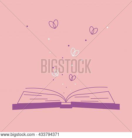Illustration Of Spiritual Session. Set Of Magic Items, Magic Book About Love, Romantic Sentiment, St