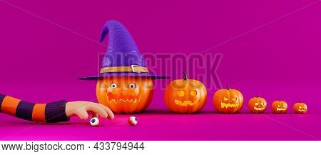 Scary Halloween Pumpkins With Human Eyes And Hands. Creative Banner For Halloween, 3d Render. An Ela