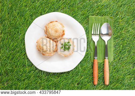 Coconut-rice Pancakes, Or Khanom Khrok In White Plate With Green Grass Background. Made From Coconut