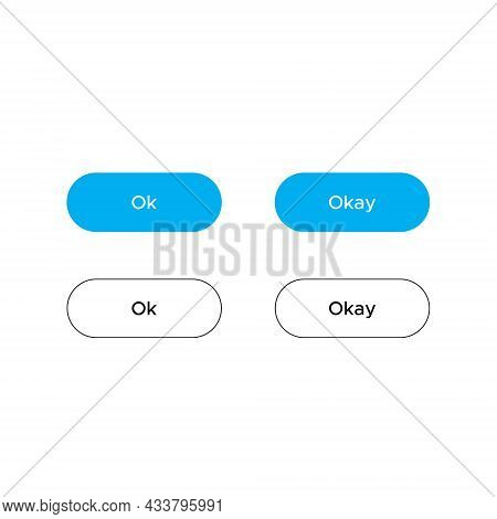 Ok, Okay Button Icon Vector In Flat Style