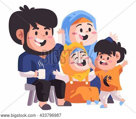 Muslim Family Sitting In Sofa And Making Laugh And Joking In Living Room Happy Smiling Islam Modern
