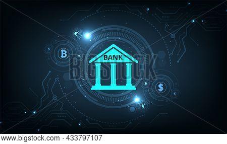 Banking Technology Concept.isometric Illustration Of Bank On Dark Blue Technology Background. Digita