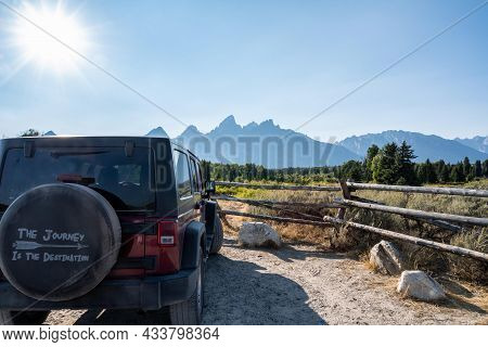 The Famous Off-road Jeep Vehicle In Grand Teton Np, Wyoming