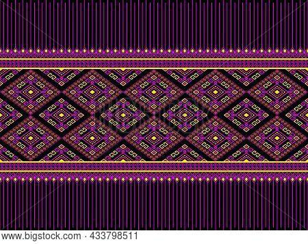 Magenta Yellow Ethnic Or Tribe Seamless Pattern On Black Background In Symmetry Rhombus Geometric Bo