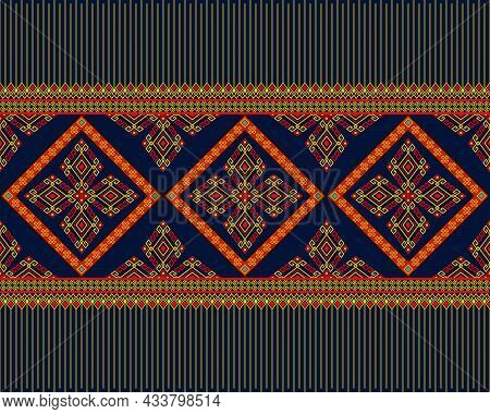Yellow Red Native Or Tribe Seamless Pattern On Blue Background In Symmetry Rhombus Geometric Bohemia