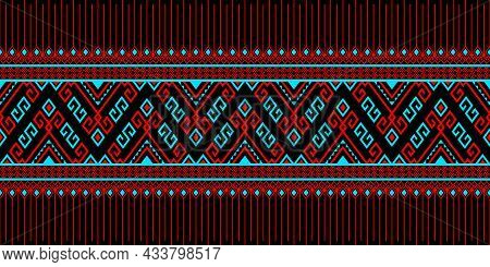 Red Turquoise Tribe Or Native Seamless Pattern On Black Background In Symmetry Rhombus Geometric Boh