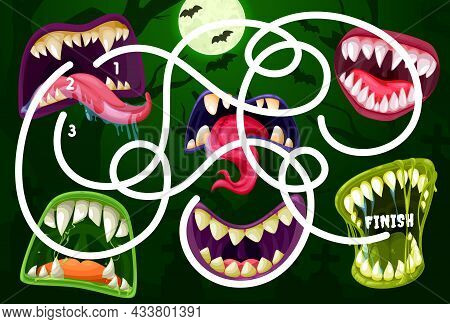 Kids Maze Game With Monster Mouths. Vector Labyrinth Puzzle Find Correct Way Board Game. Task With T