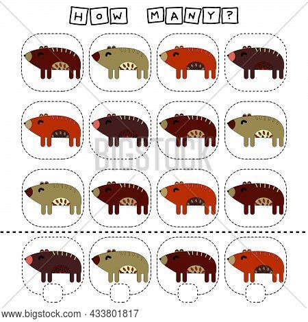 How Many Counting Game With Funny Bears. Worksheet For Preschool Kids, Kids Activity Sheet, Printabl