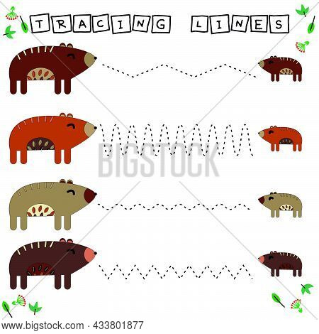 Tracing Lines Game With Funny Animals Bears. Worksheet For Preschool Kids, Kids Activity Sheet, Prin