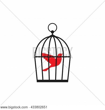 Locked Cage With Red Bird Icon. Trap, Imprisonment, Jail Concept. Line Silhouette Of A Cage For A Ca