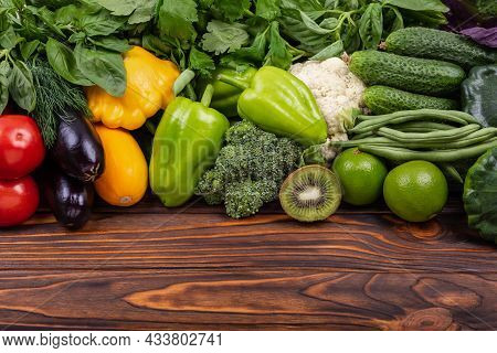Dietary And Balanced Vegetarian Eating Products. Assortment Of Fresh Organic Vegetables. Healthy Fre