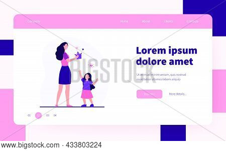 Happy Mother Giving Crown To Her Little Daughter. Kid, Party, Princess Flat Vector Illustration. Cel