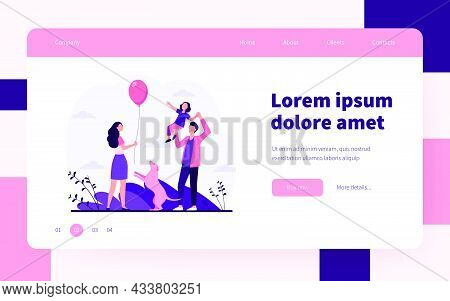Happy Parents With Daughter Having Fun Together. Dog, Father, Mother Flat Vector Illustration. Famil
