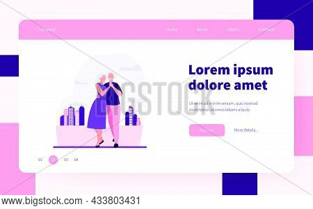 Senior Couple Dancing Outside. Old Man And Woman Holding Hands And Embracing Flat Vector Illustratio