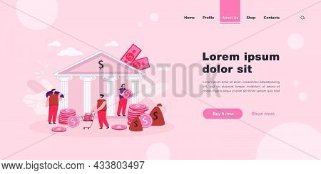Tiny People Depositing Or Taking Money From Government Bank. Flat Vector Illustration. People Taking
