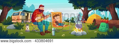 Family Camping, Father And Little Son Relax In Forest Camp Playing Guitar At Fire. Man And Boy Touri