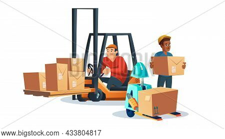 Forklift With Driver, Worker And Robot Carrying Cardboard Boxes. Vector Cartoon Illustration Of Lift