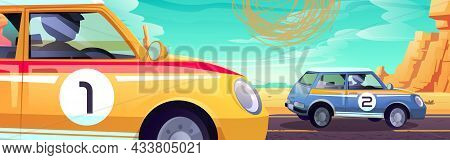 Cars Racing In Desert, Race Tournament, Auto Rally Competition, Drivers In Automobiles Driving Road