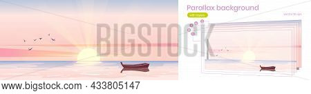 Sea Landscape With Wooden Boat At Sunrise. Vector Parallax Background For 3d Animation With Cartoon