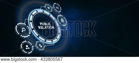 Pr Public Relation Management. Business, Technology, Internet And Network Concept. 3d Illustration
