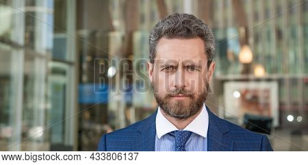Male Hair Fashion. Professional Unshaven Ceo. Mature Businessperson In Formalwear Portrait.