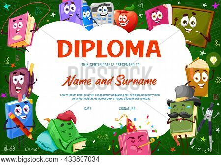 Kids Diploma Certificate With Books, Textbooks And Bestsellers Cartoon Characters. Children Educatio
