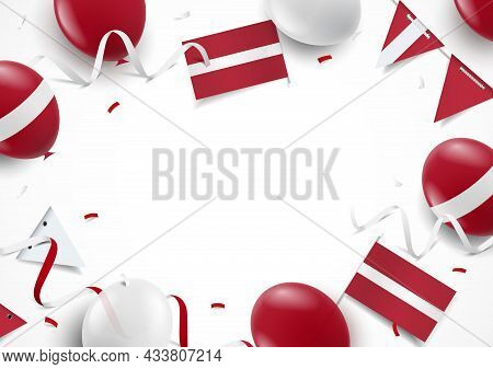 Vector Illustration Of Independence Day Of Latvia. Background With Balloons, Flags