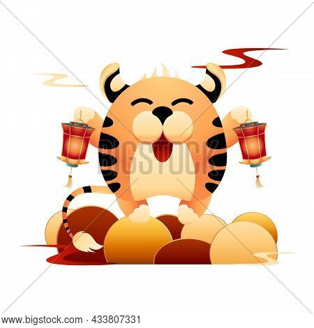 Happy Tiger Holding Red Chinese Lanterns On The Hill. Symbol Of 2022 Chinese New Year Is The Striped