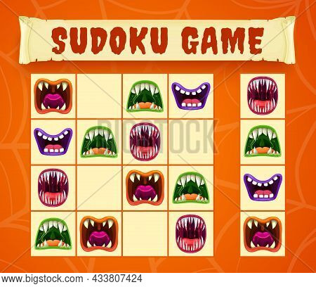 Halloween Monster Mouths Of Sudoku Or Puzzle Game Vector Template. Children Educational Worksheet Of