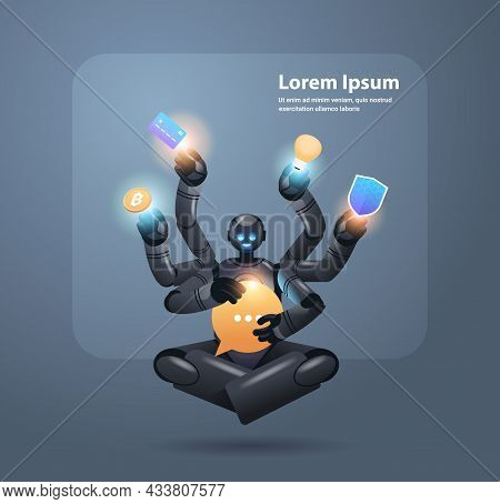Modern Robot With Many Hands Multitasking Robotic Character Artificial Intelligence Concept