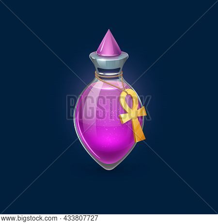 Witchcraft Potion Bottle With Egyptian Sandstorm Spell, Vector Magic Elixir For Game Asset. Pink Lov