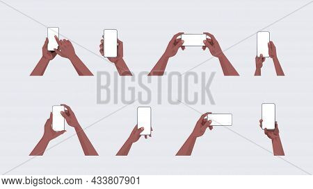Set African American Human Hands Holding Smartphones With Blank Touch Screens Using Mobile Phones Co