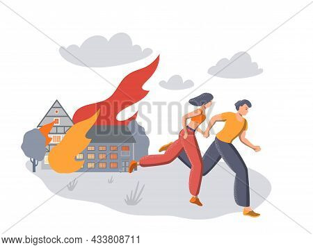 Illustration Of People Running Against The Background Of A Forest Fire, Fire And Trees, Disaster, Ev