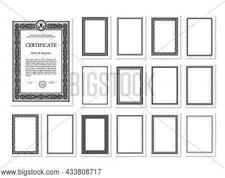 A Set Of High Quality Vertical Frame Templates For Certificates, Diplomas And The Like. Includes Vin