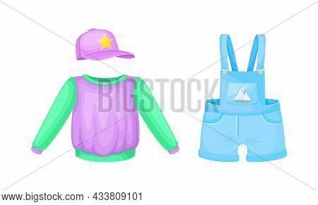 Little Boy Clothes Set. Sweatshirt And Denim Overalls Cartoon Vector Illustration
